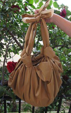 Large brown furoshiki bag practical pounch purse hand