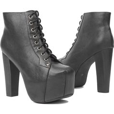 Jeffrey Campbell Lita Black Platform Booties (150 CAD) ❤ liked on Polyvore featuring shoes, boots, ankle booties, heels, black booties, lace up booties, black ankle booties, high heel boots and black platform boots