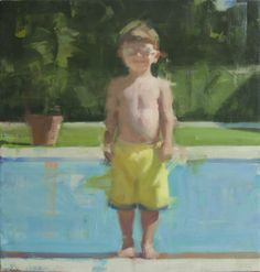 Adam at the Pool, oil 37 x 38 www.davidshevlino.com