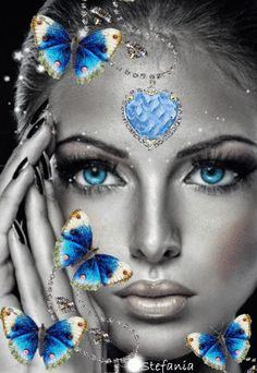 DIY Diamond Painting Blue Heart Eyes and Butterflies - craft kit Gif Kunst, Color Splash, Color Pop, Colour, Fantasy Art Women, Butterfly Pictures, Butterfly Crafts, Blue Butterfly, Beautiful Gif