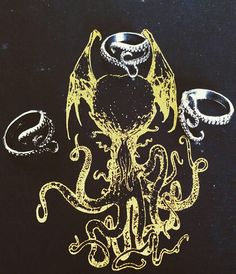 Silver tone Adjustable Tentacle Ring For the Lovecraft Devout and all Livers of the Sea. Tentacle, Cthulhu, Horror, Sci Fi, My Etsy Shop, Rings, Check, Silver, Money