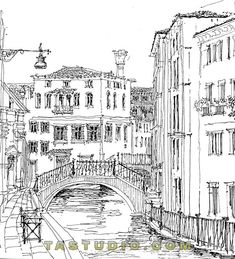 Pen and Ink Illustration of a Canal. Venice, Italy.