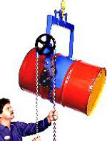 55 Gal HD Below-Hook Overhead Drum Carriers Accepts Diam Adapters. The drum holder makes pouring drums above your reach easy, allow you to control drum tilting 360° in either direction, dispense drum contents with your hoist or crane and even lift and invert a drum with drum faucet in place.