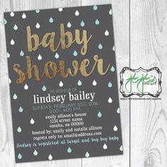 Rain Drops Baby Shower Invitation, Dark Gray Mint Teal White, Metallic Gold (Digital File) by jojosdesigns on Etsy
