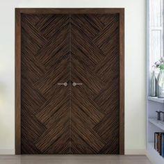 Sanrafael Lisa Flush Double Fire Door - Model K11 Reconstituted Ebony Prefinished. #flushdoubledoors #internalwalnutdoorpaie #designerdoors