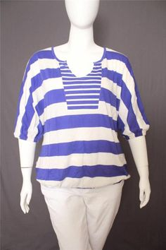 New Lane Bryant Blue and White Stripes 3/4 Dolman Sleeves Knit Top Size 18/20 #LaneBryant #KnitTop #Casual
