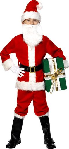 Childrens Deluxe Santa Costume Boys Father Christmas Kids Fancy Dress New for sale