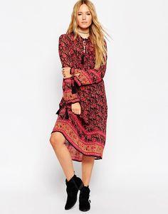 32b906f5a7cd Image 1 of ASOS Midi Boho Dress With Border Print Midi Shirt Dress