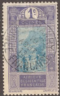 """French Guinea  1913 1c violet & blue """"Ford at Kitim"""" SON with """"Conakry"""", the Capital of French Guinea"""
