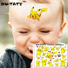 NU-TATY Aibikaqiu Child Temporary Body Art Flash Tattoo Sticker 10*17cm Waterproof Henna Fake Tatoo Pokemon Go Tattoo Sticker