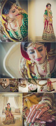 Traditional Indian bride wearing bridal lehenga and jewellery. Dipshika & Ravis wedding by Salshan Photography Indian Bridal Party, Indian Bridal Lehenga, Indian Bridal Wear, Indian Mehendi, Indian Anarkali, Lehenga Wedding, Indian Gowns, Indian Hair, Pakistani Bridal
