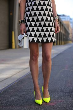 Black and White Triangle Dress. Pop of neon with SHOES.