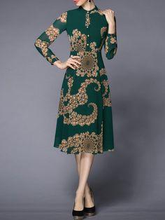 Green Swing Chiffon Printed Long Sleeve Midi Dress
