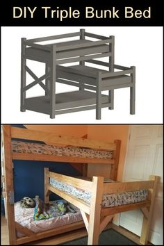 To efficiently use a small space things need to be customized. This concept of building a triple stacked bunk bed is the perfect solution. Triple Bunk Beds, New Business Ideas, Easy Diy Projects, Household Items, Cool Things To Make, Kids Bedroom, Small Spaces, Outdoor Decor, Carpenter