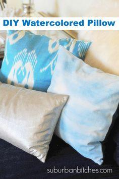 DIY watercolored fabric pillow