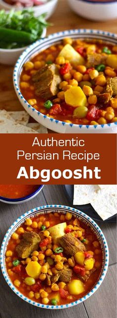 Abgoosht or dizi is a Persian soup or stew that is traditionally prepared with lamb, chickpeas, white beans, potatoes and tomatoes.