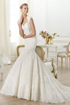 Luxury Sequined Lace Mermaid Wedding Dress with Cap Sleeves And Key Hole On Back JSWD0466  Suzhou