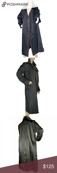 """FRENCHCOAT  PARIS  Ramosport Black Trench Coat Frenchcoat Paris by Ramosport European style black trench coat with antique brass rivet trim. Front opening has three large hooks as shown in photos. Lapel collar. Buckles on sleeves. Back center vent. Elegant, sophisticated! RN# 105689 Same company parent company as True Religion.   EXCELLENT CONDITION   Fabric: Shell-53% Cotton,47% Nylon/Lining 100% Nylon  Shoulders: 14"""" Bust: 40"""" Waist: 42""""  Smoke Free Environment Frenchcoat Paris by…"""