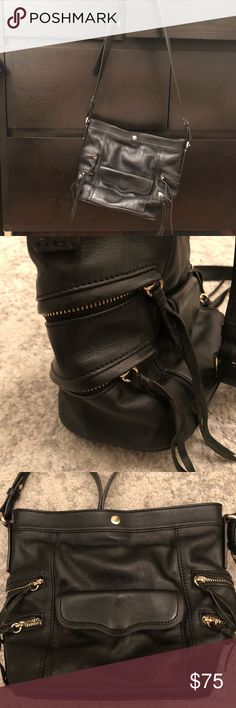 Rebecca Minkoff Crossbody Messenger Satchel bag Black leather messenger purse. Fully in tact. No spills, stains or scratches. Three interior pockets. Five exterior pockets. Great everyday purse!!! Rebecca Minkoff Bags Crossbody Bags