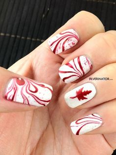 Canada Day marbled nail polish