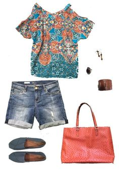 Spring & Summer 2017 Fashion! Stitch Fix - #sponsored #stitchfix - boho top, jean cut offs teal orange print top