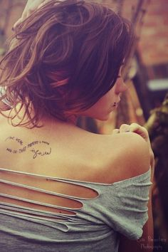 Beautiful Message in Infinity Tattoos Design on Back