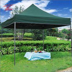 Faltpavillon 3 x 3, aus Polyester mit PVC-Beschichtung, wasserdicht, UV-beständig, lackiertes Stahlgestell, 3030D-Dunkelgrün