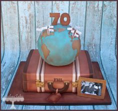 Vintage suitcase and globe travel themed birthday cake www.facebook.com/i.love.cuteology.cakes