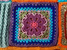 Flower Tile Afghan Square by Marta Chrzanowska. With a  5.5 mm hook the square measures 12 in.