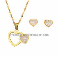 juego collar y aretes de corazon moda en acero dorado inoxidable para mujer…
