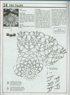 tiny tulips round crochet doily diagram