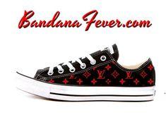 24b4e9797e1b Bandana Fever Supreme LV Print Custom Navy Converse Low Top Shoes in ...