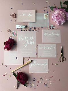 Calligraphy Wedding Invitation Suite in Pink Digital Item