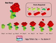 Happy Mothers Day | BRICKS 4 KIDZ® | Flower rose from LEGO® Bricks