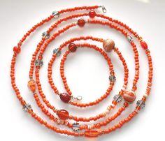 Orange Wrap Wrap Bracelet Beaded Orange Beaded Necklace by myVardo