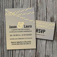 DIY Printable  Lights Wedding Invitation Set with RSVP by themunch, $40.00