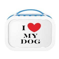 """""""I Love My Dog"""" Lunch Box. Includes large (sandwich) container, two small containers, and ice pack. Choose from six color options."""