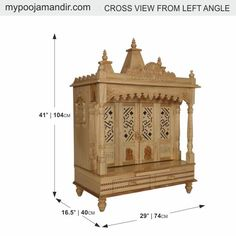 Wooden Temple for Home Puja / Pooja with three Domes Wooden Temple For Home, Temple Design For Home, Mandir Design, Pooja Room Design, Nativity Stable, Pooja Mandir, Puja Room, Teenage Room, Prayer Room