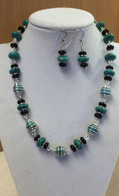 Black and Turquoise Beaded  Necklace and Earring Set