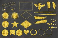 25 Gold Foil Hand Crafted Graphics by Blixa 6 Studios on @creativemarket