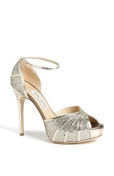 Free shipping and returns on Jimmy Choo 'Kafta' Platform Pump at Nordstrom.com. A peep-toe pump with a slender heel and strap is cast in glittering, textured fabric.