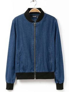Blue Collar Long Sleeves Denim Jacket with Front Zipper