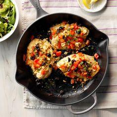 Greek Tilapia Iron Skillet Recipes, Easy Steak Recipes, Cast Iron Recipes, Skillet Meals, Skillet Steak, Skillet Cooking, Roasted Potato Recipes, Roasted Potatoes, Tilapia Recipes