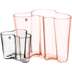 iittala Alvar Aalto, vase set 160 + 95 mm, pink salmon & clear