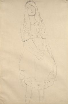 Standing girl with folded hands (Study for the Portrait of Mäda Primavesi) by Gustav Klimt 1912