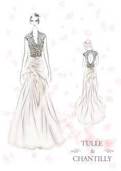 Romantic Lace Bodice Bridal Gown Sketch With Draped Skirt TulleandChantilly.com
