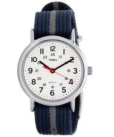 #Timex Men's T2N654 Weekender Blue/ Grey Stripe Nylon Strap Watch on sale @ overstock.com! http://www.overstock.com/7723659/product.html?CID=245307