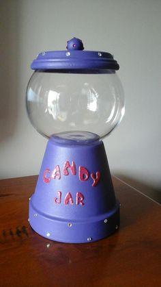 Candy jar. Purple Candy Jars, Terracotta, Purple, Home Decor, Decoration Home, Candy Mason Jars, Room Decor, Home Interior Design, Terra Cotta