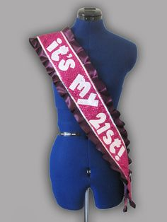 Hot Pink and Purple 21st Birthday Sash by elizabethscollection, $80.00