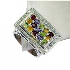 Riyo Good-Looking Multi Gemstone 925 Solid Sterling Silver Multi Ring Srmul7.5-52022